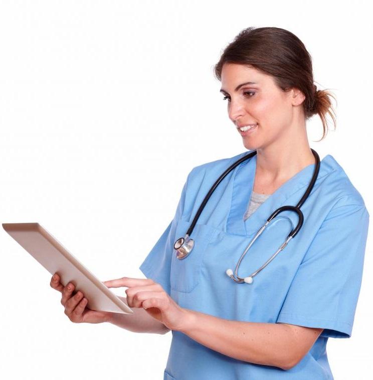 Verpleegster tablet movile responsive keuze maken smartphone
