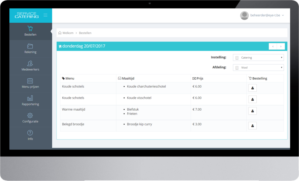 online menu planner via Alivio Catering